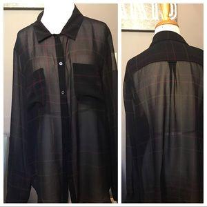 Loft black sheer plaid blouse Size XL